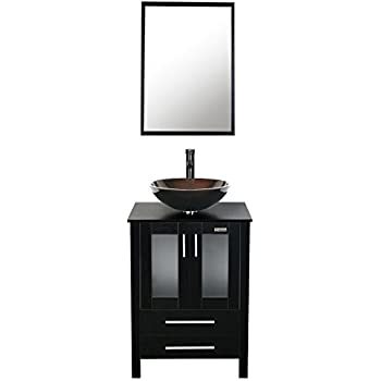 24 in bathroom vanity with sink. Eclife 24 inch Bathroom Vanity Combo Modern MDF Cabinet with Mirror  Tempered Glass Counter Top Units And Sink Stand