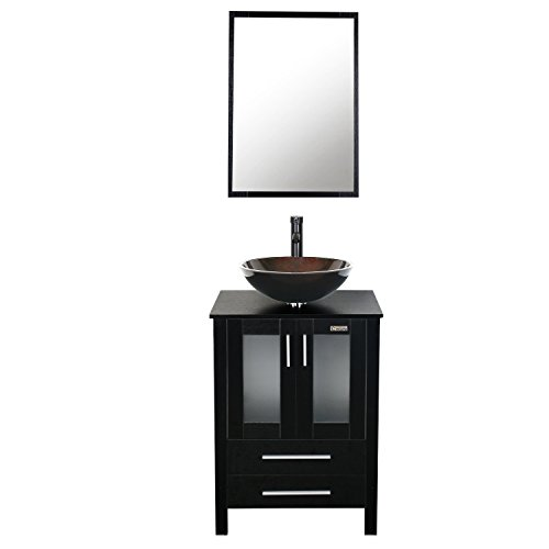 Eclife 24 inch Bathroom Vanity Combo Modern MDF Cabinet with Vanity Mirror Tempered Glass Counter Top Vessel Sink with 1.5 GPM Faucet and Pop Up Drain (24' Round Glass Top)