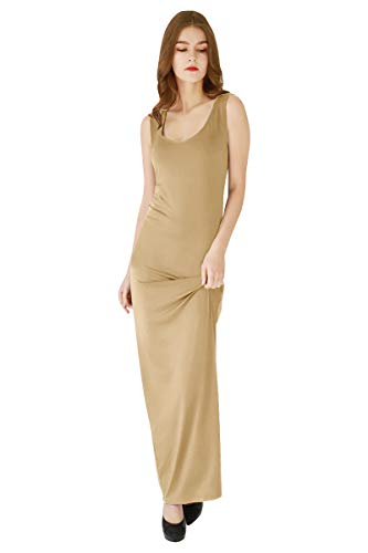YMING Women's Casual Slim Fit Dress Cocktail Long Maxi Elegant Dress Khaki XL
