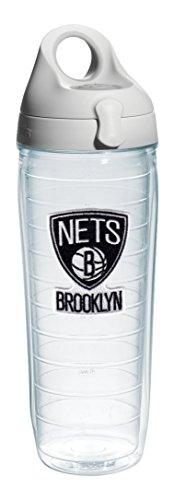 Tervis 1079881 ''NBA Brooklyn Nets'' Water Bottle with Grey Lid, Emblem, 24 oz, Clear by Tervis