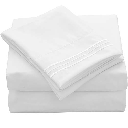 VEEYOO Twin XL Sheets Set Hotel Luxury Soft 1800 Microfiber Bed Sets, Wrinkle, Fade, Stain Resistant Deep Pocket Fitted Sheet, Flat Sheet, Pillow Cases, 3 Piece Bed Sheets (Twin XL, White) (Extra Twin Sets Long Sheets)
