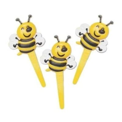 Bumble Bee Cupcake Picks - 24 ct: Kitchen & Dining