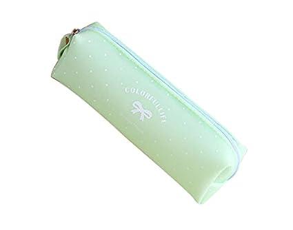 NOVAGO-Estuche escolar - estuche para làpiz de gel de silicona serie del caramelo en colores pastel (verde)