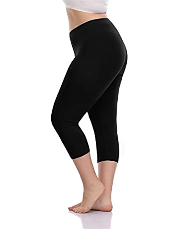 6481de42796f08 VOGUEMAX Women's Capri Leggings Plus Size Stretch and Comfy High Waisted  Three-Quarter Leggings Plus