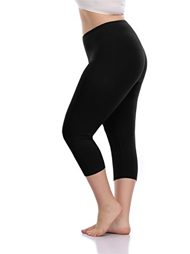 VOGUEMAX Women's Capri Leggings Plus Size Stretch and Comfy High Waisted Three-Quarter Leggings Plus by VOGUEMAX