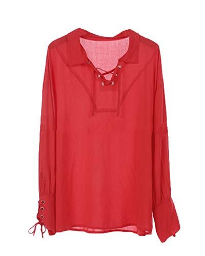 Stile Blusa Rosso Vintage Top Uomo Senza Cintura Liangzhu Medioevo Camicetta Camicia Vittoriano Costume HxIqWE
