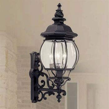 Livex Lighting 7701-04 Frontenac - Four Light Exterior Lantern, Black Finish with Clear Beveled Glass