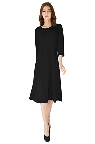 Sleeve Trapeze 3/4 - YMING Women's A Line Shirt Dress Trapeze Dress Midi Pleated Dress 3/4 Sleeve Dress Black L