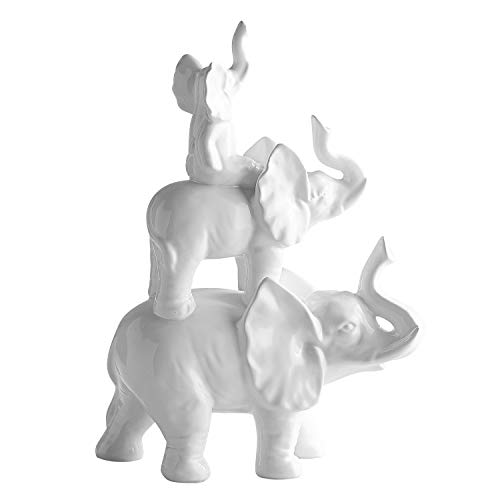 Pier 1 Imports White Stacked Elephant Family Figurine Decorative Nursery Home Decor by Pier 1 Imports