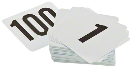 Update International (PTN4/1-100) Plastic Table Numbers, - Card 100 Standard