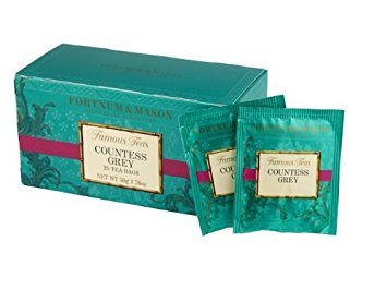 Countess Fruit Bowl - Fortnum & Mason British Tea, Countess Grey, 25 Count Teabags (1 Pack). (Packaging may vary)