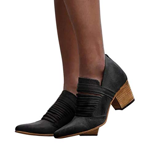 Women's Ultra Comfortable and Soft Lining Slip on Low Heel Closed Pointed Toe Boot (Black -3, US:8.0)