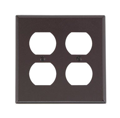 Leviton 001-85016-BRN 2-Gang Duplex Device Receptacle Device Mount Wall Plate Thermoset, Standard, Brown