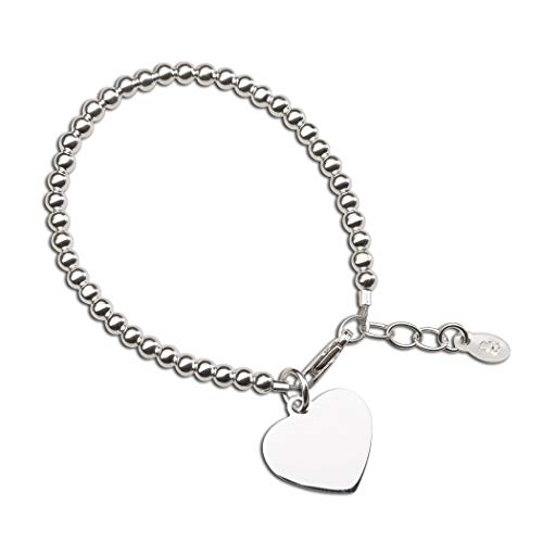 Children's or Baby Sterling Silver Bracelet with Engravable Heart ()