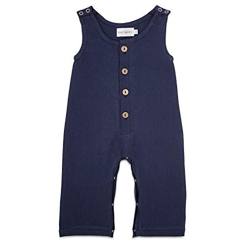 Babe Basics Linen Baby Romper | Baby Boy Fall Romper | Fall Photoshoot Outfit (0-3 Months, Navy)