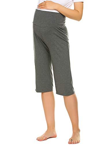 Ekouaer Women's Maternity Pants Pregnancy Wear Mom Nursing Plus Size Pajamas Shorts Grey