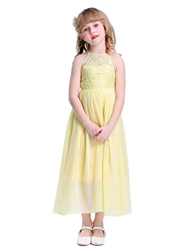 Happy Rose Girls Lace Party Wedding Long Chiffon Junior Bridesmaid Dress Yellow 12