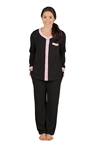 (Women's Long Sleeve Pajama Set - Button Up Sleepwear by Texere (Eco Nirvana, Black, 3X/Petite) Best WB0005-BLK-3XP)