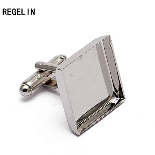 (Laliva 10pcs/lot Square Cufflink Settings Spacer Blank Base Bezel Trays Cobochon Cameo Cufflinks DIY Jewelry Making Cufflink - (Color: Rhodium, Size: 20mm))