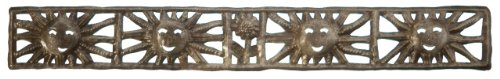 (Le Primitif Galleries Haitian Recycled Steel Oil Drum Outdoor Decor, 30 by 4-Inch, Sun Strip)
