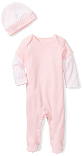 Moon and Back Baby Organic Double-Sleeve One-Piece Coveralls with Cap Set, Pink Blush, 0-3 Months