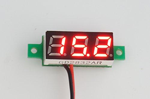 SMAKN® RED Led 0.28 Mini 2 Wire Dc Voltmeter 2.7~30v Digital Display Voltmeter Gauge LED Voltage Detector