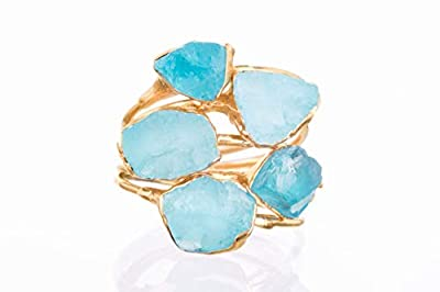 SIZE 6 Raw Crystal Ring, Yellow Gold, Boho Jewelry, Rough Apatite