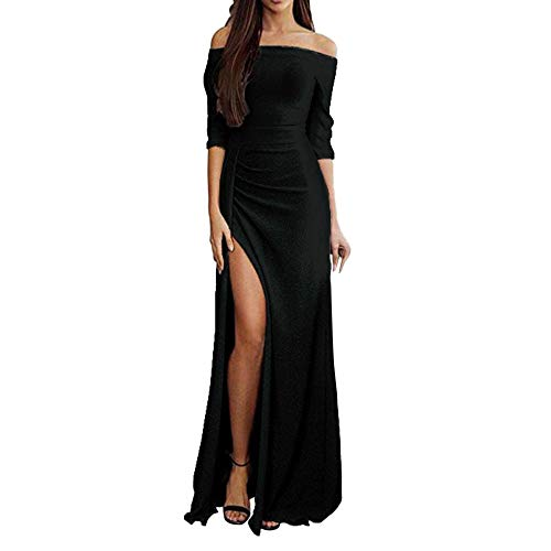 ANJUNIE Maxi Dress Women Off Shoulder Dresses High Split Long Evening Dresses(Black,XXXL)