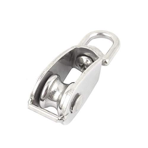 (Helen-Box - 15Mm Silver Tone Stainless Steel Single Sheave Swivel Eye Wire Rope Pulley 0.035 Ton)