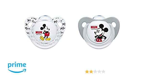 NUK 10175210 Disney Mickey Mouse Trend Line Chupete, silicona, 0 - 6 ...