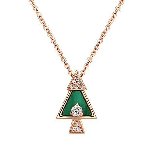 d968f2a443a8 LCMJ Árbol de Navidad Collar de Diamantes Mujer 18k Color Oro Rosado Cadena  de clavícula Platino Oro Regalo del día de San Valentín para Novia Enviar  Amigos ...