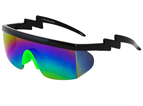 Semi Rimless Goggle Style Retro Rainbow Mirrored Lens ZigZag Sunglasses (Rainbow Green) ()