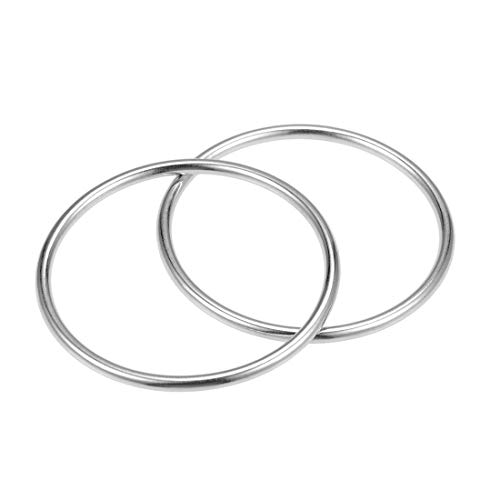 uxcell 2 Pcs O Ring Buckle 2-Inch 50mm Metal O-Rings Silver Tone for Hardware Bags Belts Craft DIY - Metal O-ring