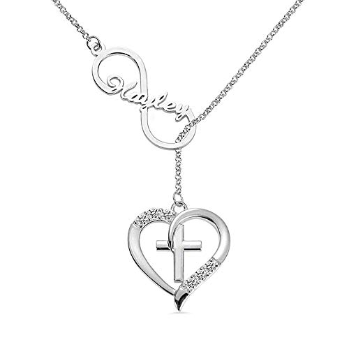 Getname Necklace Personalized Infinity & Heart Cross Engraved Birthstone Name Necklace 925 Sterling Silver Couple Pendants Valentine' s Day