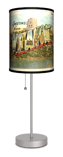 Lamp-In-A-Box SPS-TRV-OKLAH Travel Oklahoma Postcard Sport Silver Lamp, 7'' x 7'' x 20'' by Lamp-In-A-Box