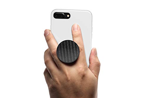 Fibre Grips - Collapsible Magnet Phone Grip, Stand, and Mount-Flexible Soft Middle Allows for a Comfortable fit-mounts to Any Metal Surface. Cell Phone Grips by Coolgrips with Airpop - Genuine Carbon Fiber Black