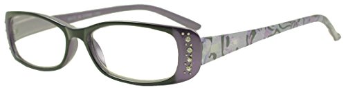Sunglass Stop - Small Oval Two-Tone Cateye Rx Magnification Reader Readers Glasses w/ Rhinestones (Purple, +3.50)