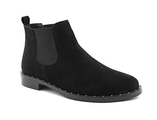 Mi Daim Pour Femmes Élastiques Grunland En Nero Noires Chaussures Zigo Po1433 Bottines botteuses wwIvX0
