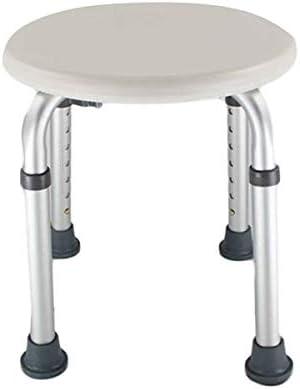 7 Levels Adjustable Aluminum Alloy Elderly Round Shower Stool White,Round Stool Bath Bench Adjustable Height,Bathtub Shower Stool, Tool Free, Height Adjustable, Suitable for Disabled and Elderly