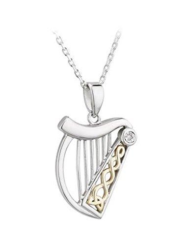 Solvar Irish Jewellery - Harp Necklace Sterling Silver & 10K Gold & Diamond Solvar Irish Jewelry