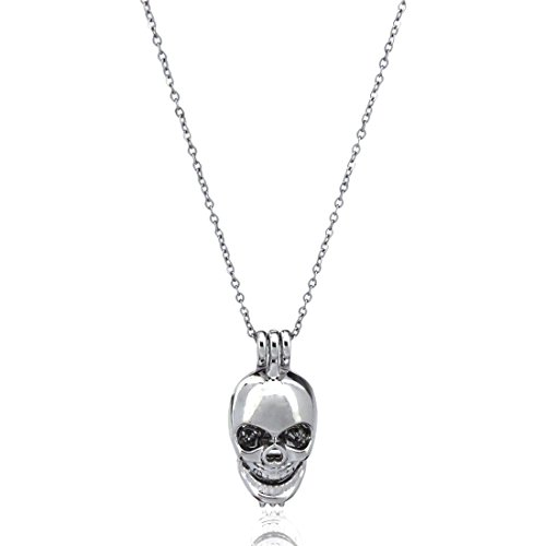 Skull Locket Necklace, Skull Bead Cage, Ghost Skeleton Pendant Charms, Punk Jewelry Making (Locket Skull)