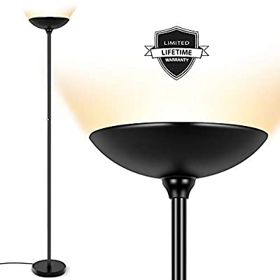 Floor Lamp - Torchiere Floor Lamp, 24W Dimmable Standing Lamp, 2160 Lumens, 3000K Warm White, Energy-Saving, Metal Material, LED Floor lamp for Living Room, Lamps for Bedrooms, Reading & Office