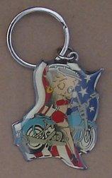 (Betty Boop On Motorcycle Enamel ON Metal Key Ring )