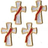 (US) Deacon Cross Embroidered Patches - Package of 4