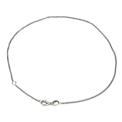 925 Sterling Silver 1.20 mm Round Box Chain Anklet with Pear Shape Clasp-Rhodium ()