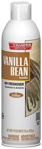 - Vanilla Bean Air Freshener Spray, Water-Based, Champion Sprayon 15 oz Can, Box of 3