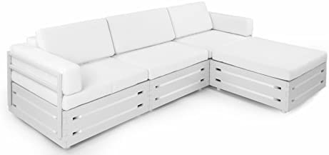Slim Furniture Full Size Furniture 4 piece Couch with Wood and Fabric, Full Size, White