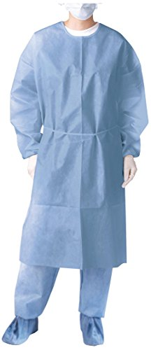 (Medline NON27114 Closed Back Coated Polypropylene Isolation Gowns, Latex Free, Regular/Large, Blue (Pack of 50))