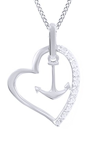 - White Natural Diamond Heart & Anchor Pendant Necklace in 14k White Gold Over Sterling Silver (0.1 Ct)