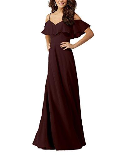 off shoulder chiffon bridesmaid dress - 3
